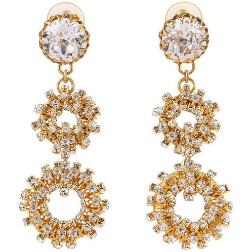 c.1960's Gold Crystal Rhinestone Statement Earrings