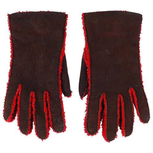 Chanel Wool Lined Leather Gloves