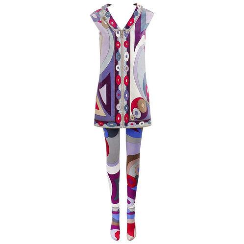 Emilio Pucci Op Art Tunic Dress Tights Set