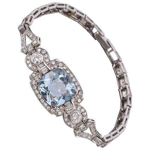 Art Deco Aquamarine Diamond Platinum Bracelet