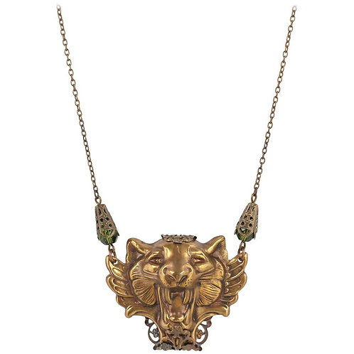 Vintage Tiger Head Necklace