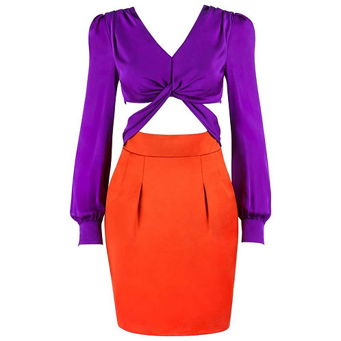 Gucci Color Block Cutout Dress