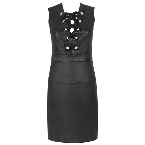 Gucci Leather Lace Up Dress