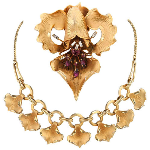 c.1940's Iris Brooch & Petal Necklace Set