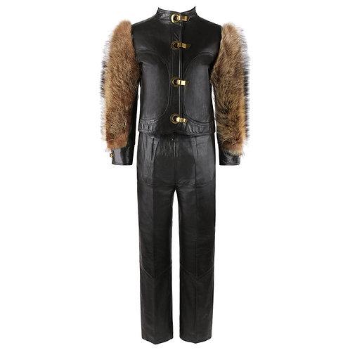 c.1970's Raccoon Fur Sleeve Jacket Pants Suit