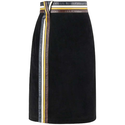 Pierre Cardin Suede Leather Trim Skirt