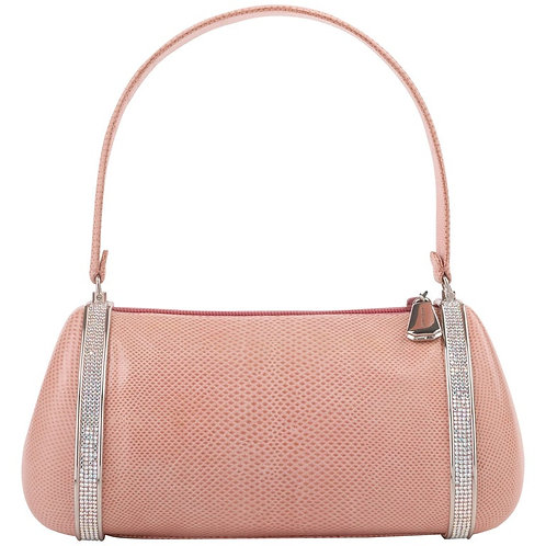 Judith Leiber Pink Leather & Crystal Handbag