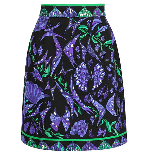 Emilio Pucci Wool Butterfly Print Skirt
