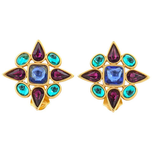 Yves Saint Laurent Gripoix Glass Earrings