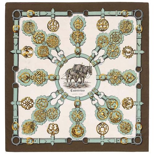 """Hermes """"Cuivreries"""" Equestrian Silk Scarf"""