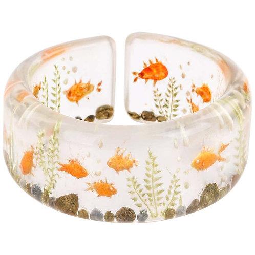 Vintage Hand Carved Goldfish Bracelet
