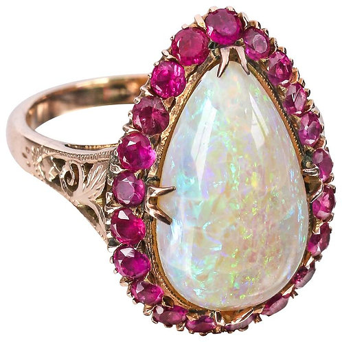 c.1930's Teardrop Opal Ruby Rose Gold Ring