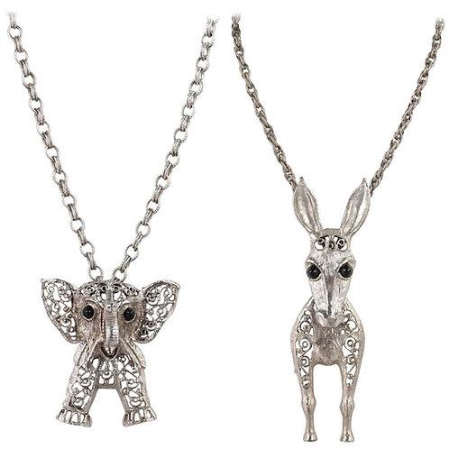 Juliana D&E Donkey & Elephant Necklace Set