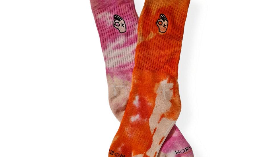 It's OKAY Socks Pink & Orange