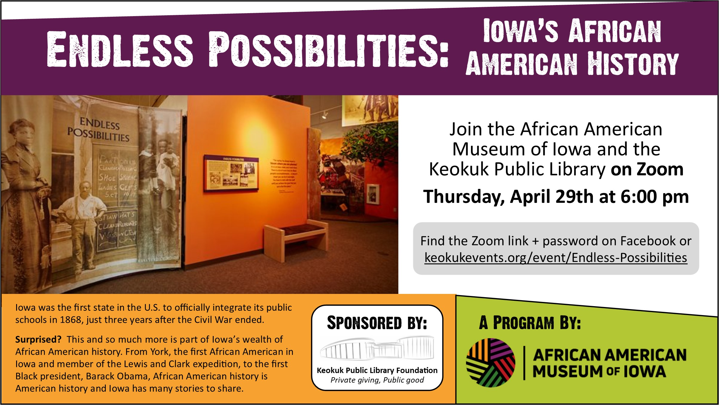 """African American Museum of Iowa will present """"Endless Possibilities"""" program on April 29 at 6:00 pm!"""