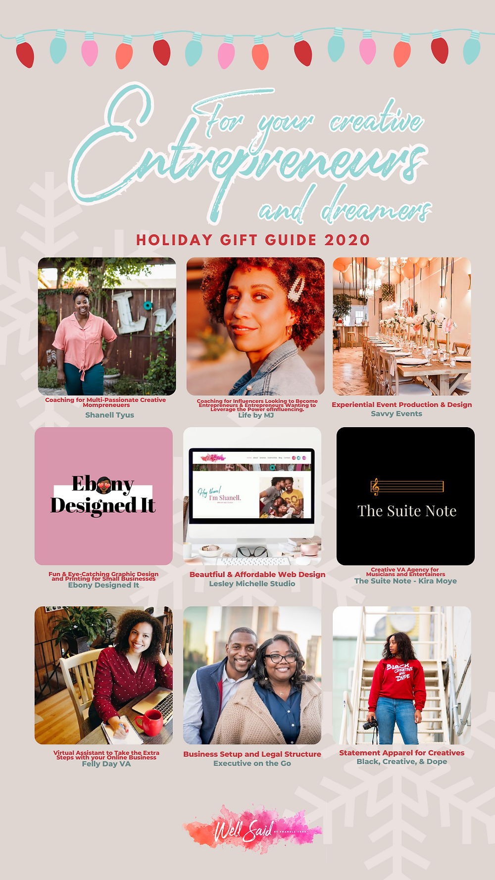 Shanell Tyus Black Business Holiday Gift Giving Guide for Entrepreneurs, Mompreneurs, and Creative Dreamers Scaling Building Launching Business Next Level Unique Gift