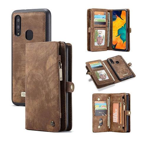 CaseMe, Samsung Galaxy A40, Detachable 2 in 1, Zipper Wallet Case - Brown