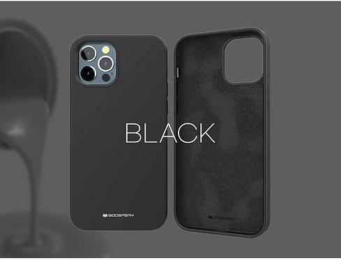 Goospery, iPhone 12, 12 Pro, Liquid Silicone Case - Black
