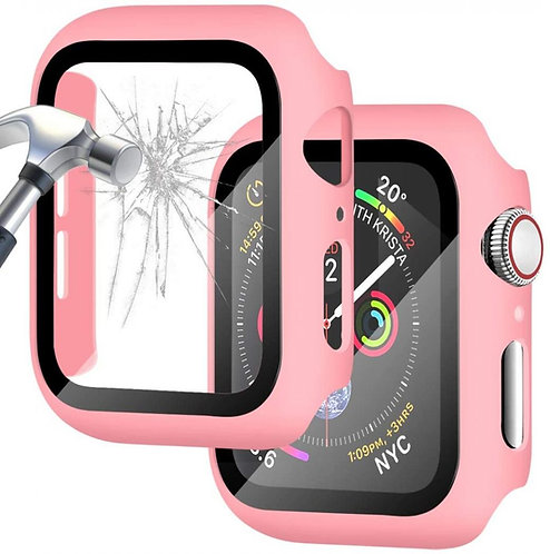 Bumper Case & Screen Protector for Apple iWatch Series S4, S5, S6, 44MM - Pink
