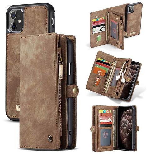 CaseMe, iPhone 11, Detachable 2 in 1, Zipper Wallet Case - Brown