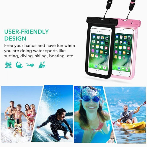 Universal IPX8 Waterproof, Smartphone Case - Black