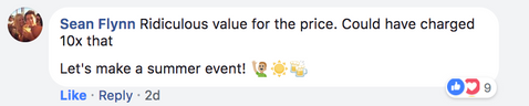 Sean's comments on the Live Event