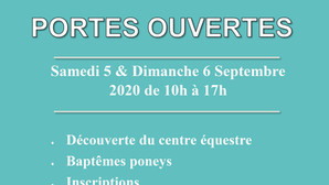 Portes ouvertes - Samedi 5 & Dimanche 6 Septembre 2020