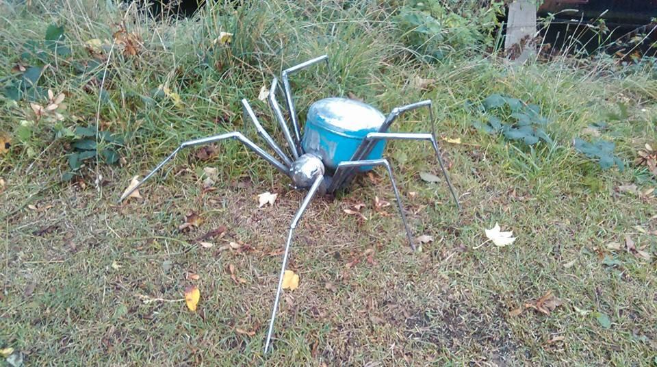Small steel spider sculpture