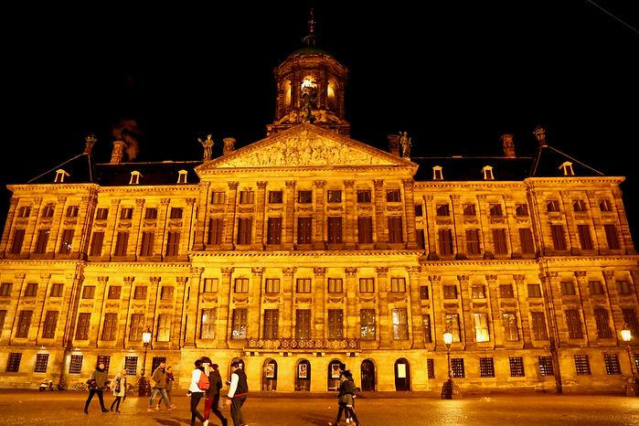 アムステルダム,王宮,ライトアップ