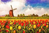 画像 風車とチューリップ 油絵