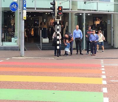 ミッフィー信号 レインボー横断歩道