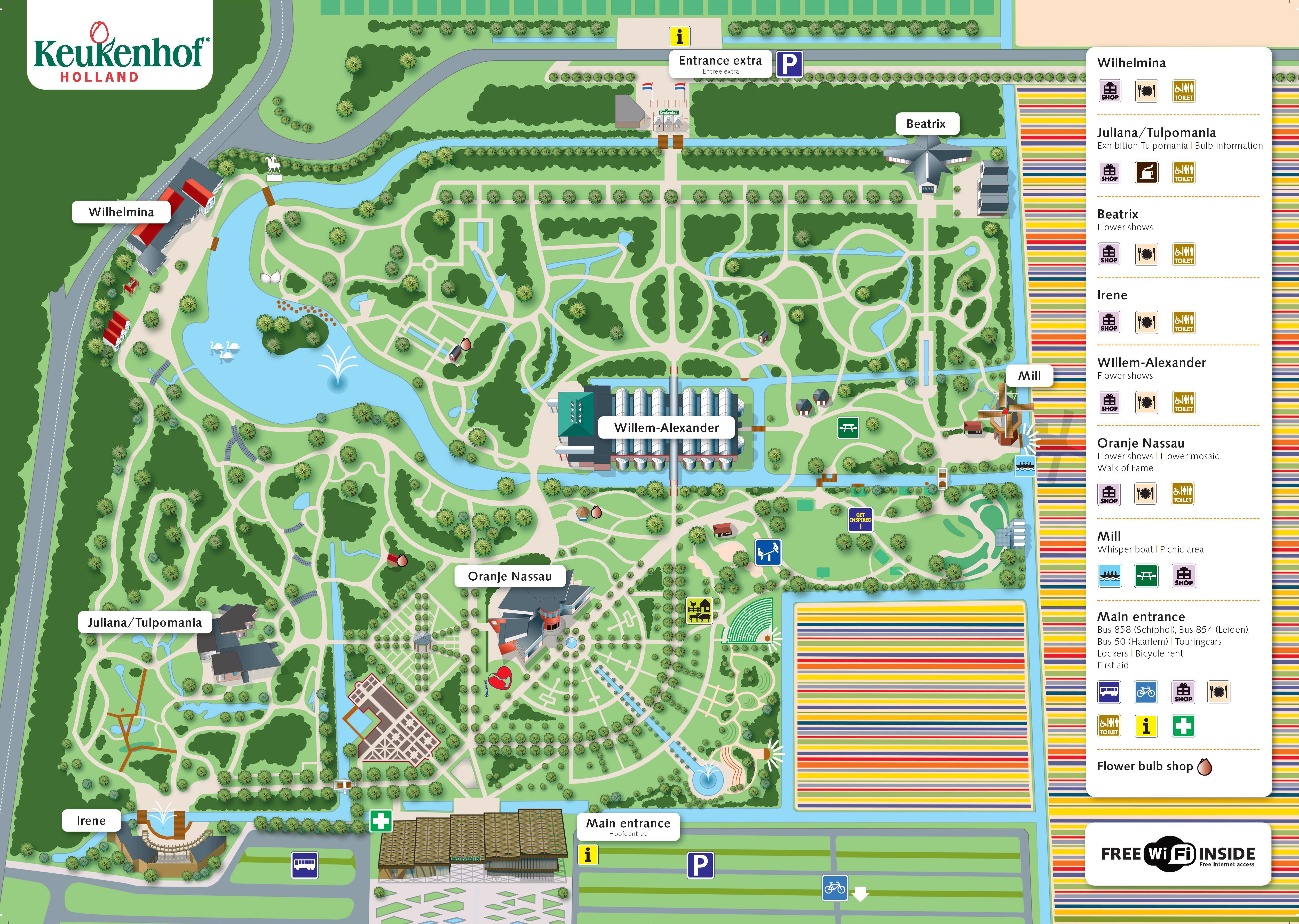 キューケンホフ公園 園内地図