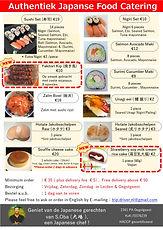 Japanese Food Catering menu