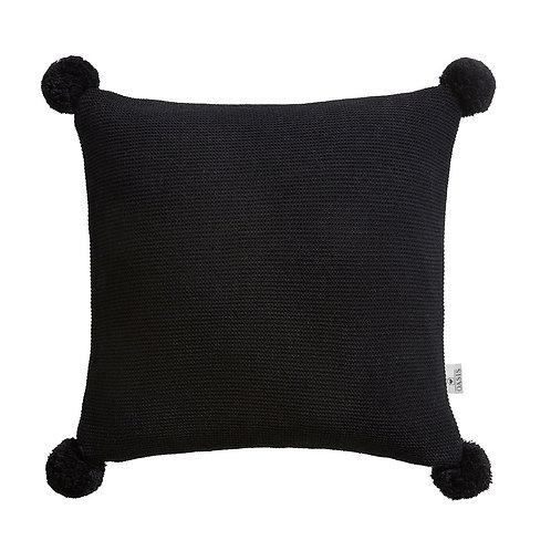 Pom Pom Cushion - Black