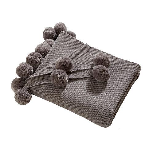 Pom Pom Throw - Grey
