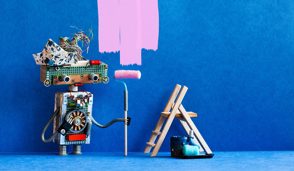 funny-robot-painter-decorator-with-pink-