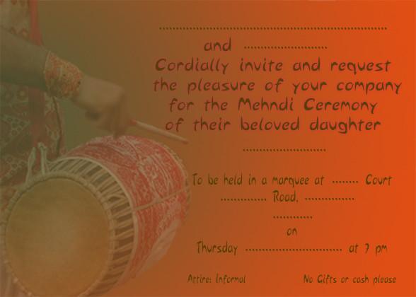 Mehndi (Henna party) invitation