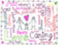 Child's poster, happy family an important words like Love Caring