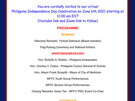 Philippine Independence Day Celebration on June 6th 2021