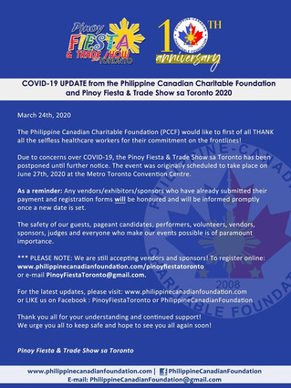 UPDATES - Pinoy Fiesta & Trade Show sa Toronto & Pageants with a Cause