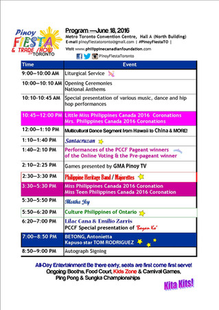 Program for Pinoy Fiesta & Trade Show sa Toronto 2016