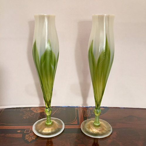 Tiffany Flower Form Pulled Feather Vases