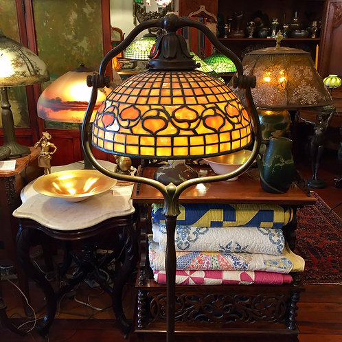 Tiffany Studios Floor Lamp with Leaded Glass Acorn Shade