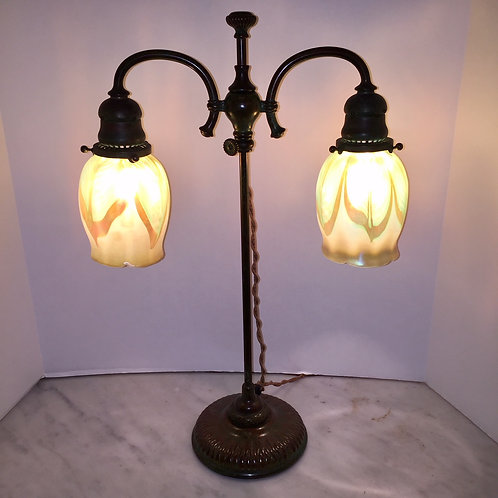 Tiffany double student lamp /w pulled feather shades
