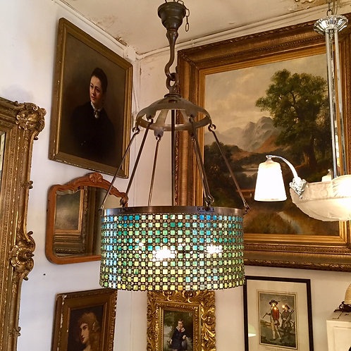 Tiffany Chain Link Chandelier w/ sconces