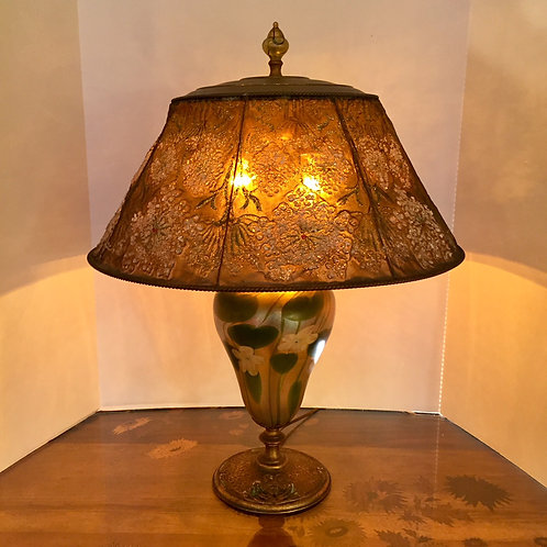 Tiffany Lamp with Original Mesh Shade and Favrile Glass Base