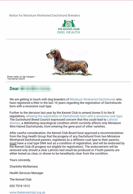 Registration of Recessive Coated Dachshunds - Lafora Disease
