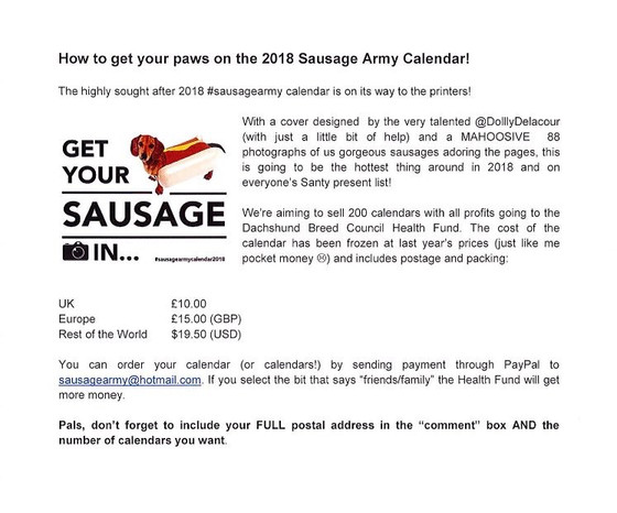 The 2018 Sausage Army Calendar is now available - fundraising for Dachshund health