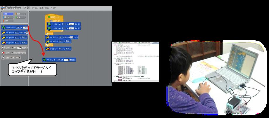 マサチューセッツ工科大学(MIT)で開発された子供向け教育用プログラミングソフトがベースなので小学生でもかんたんプログラミング!!