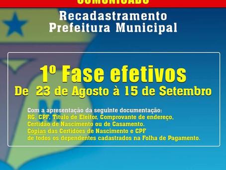 Prefeitura segue realizando recadastramento de servidores efetivos